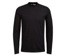 Stehkragen-T-Shirt mit langen Ärmeln schwarz