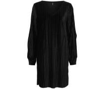 Plissee Kleid mit langen Ärmeln schwarz
