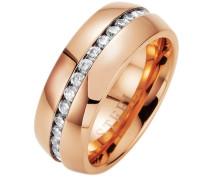 "Ring ""Memoire-Optik"" mit Zirkonia kupfer / silber"