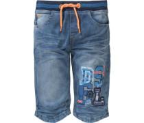 Jeansbermuda mit Patches für Jungen blau