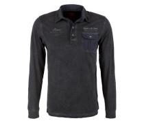 Schmales Garment Dye-Poloshirt schwarz