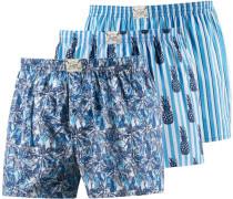 Boxershorts blau / neonblau / weiß