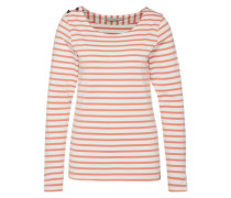 Langarmshirt 'breton stripe' orange / weiß