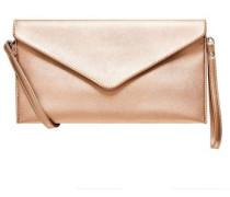 Kuvert-Clutch im Metallic-Look rosegold