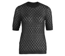 Pullover Kurzärmeliger leichter und transparenter Strick- schwarz