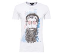 T-Shirt 'Kean' blau / grau / weiß