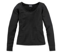 Langarmshirt eng anliegend für Mädchen schwarz