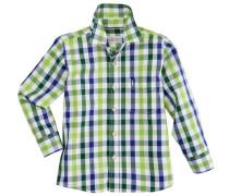 Trachtenhemd Kinder im Karodesign blau / grün / hellgrün / weiß