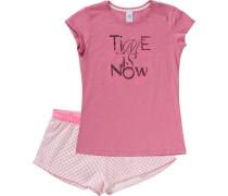 Schlafanzug für Mädchen rosa / pinkmeliert / weiß