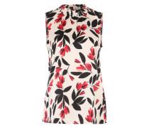 Ärmellose Bluse mit floralem Print beige / mischfarben / rot / schwarz