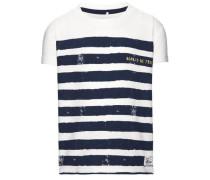 T-Shirt 'Felix' ultramarinblau / weiß