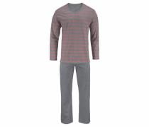 Pyjama lang mit melierten Blockstreifen