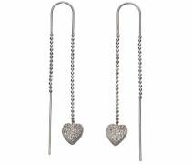 Paar Ohrhänger 'Herzen' silber / weiß