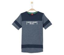 T-Shirt mit Kontrast-Einsätzen navy / taubenblau