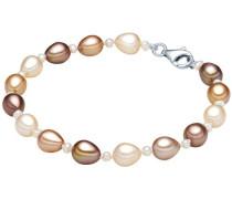 Armband aus Süßwasser-Zuchtperlen braun / hellbraun / silber / perlweiß