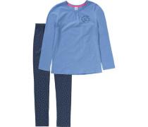 Schlafanzug für Mädchen blau / dunkelblau