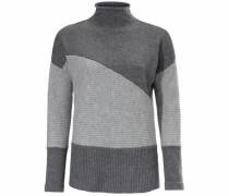 Oversized-Pullover mit Strickmix grau