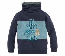 Sweatshirt mit coolem Flockdruck und Stickerei blue denim / dunkelblau