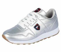 Sneaker mit feinem Glanzeffekt silber