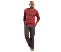 Jersey-Pyjama braun / rot