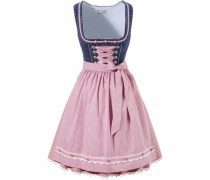 Dirndl kurz mit Rosenapplikation blue denim / rosa