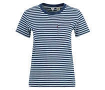 T-Shirt 'The perfect pocket tee' indigo / weiß