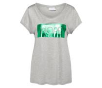 T-Shirt 'Folia' hellgrau / grün