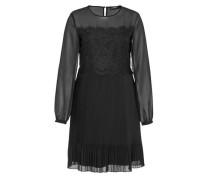 Plissee-Kleid mit Spitze schwarz