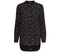 Bedrucktes Langarmhemd schwarz