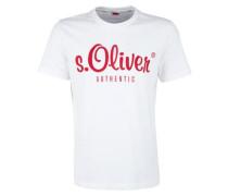 T-Shirt mit Logo-Print weiß