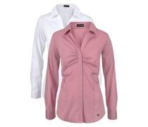 Klassische Bluse (Set 2er-Pack) pink / weiß
