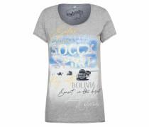 T-Shirt mit Artwork und Used-Kanten grau
