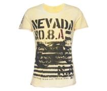 T-Shirt 'MT Nevada round' gelb / schlammfarben