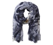 Schal mit Blumenmuster blau / naturweiß
