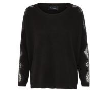 Pullover mit Spitzenärmeln schwarz