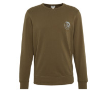 Sweatshirt 'umlt - Willy' mit Marken-Print oliv