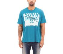 T-Shirt mit Unicolor-Print türkis / weiß