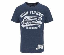 T-Shirt 'high Flyers Reworked Tee' blaumeliert / weiß