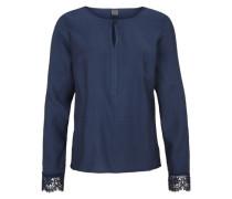 Bluse mit Spitzen-Details blau