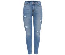 Slim Fit Jeans Studio2 hoher Taillenbund Knöchel blau