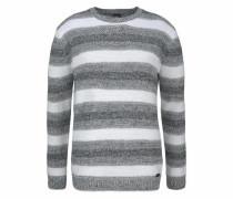 Rundhalspullover grau / weiß