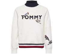 Sweatshirt 'tina Bird Mock-Nk Sweatshirt LS' nachtblau / rot / weiß