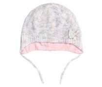Mütze mit Schleifchen lila / pink / weiß