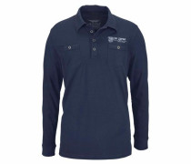 Langarm-Poloshirt indigo