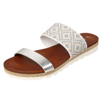 Pantolette im Metallic-Look silber / weiß