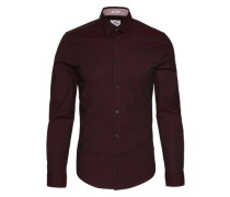 Slim Fit Hemd bordeaux