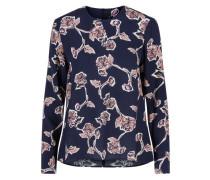 Blumen-Oberteil mit langen Ärmeln nachtblau / rosa