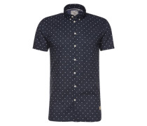Hemd mit Punkten 'Revello' navy / weiß