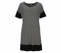 Modernes Nachthemd im schwarz-weißen Ringellook schwarz / weiß