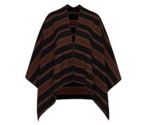 Poncho aus Wollmischung braun